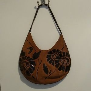 BCBGirls brown suede handbag with flowers